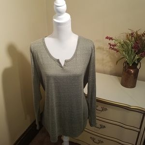 Sage Green Long Sleeve Button up Pullover T Shirt